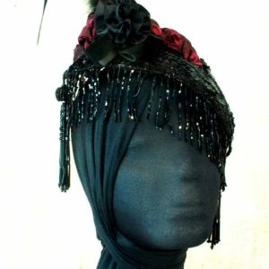 Beaded Fascinator with Feathers in Leather Loops and Scarlet Accent