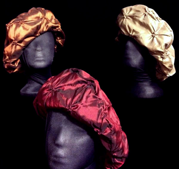 Experience Comfortable Soft Flattering Tucked Taffeta Berets | Ruby Copper Bronze