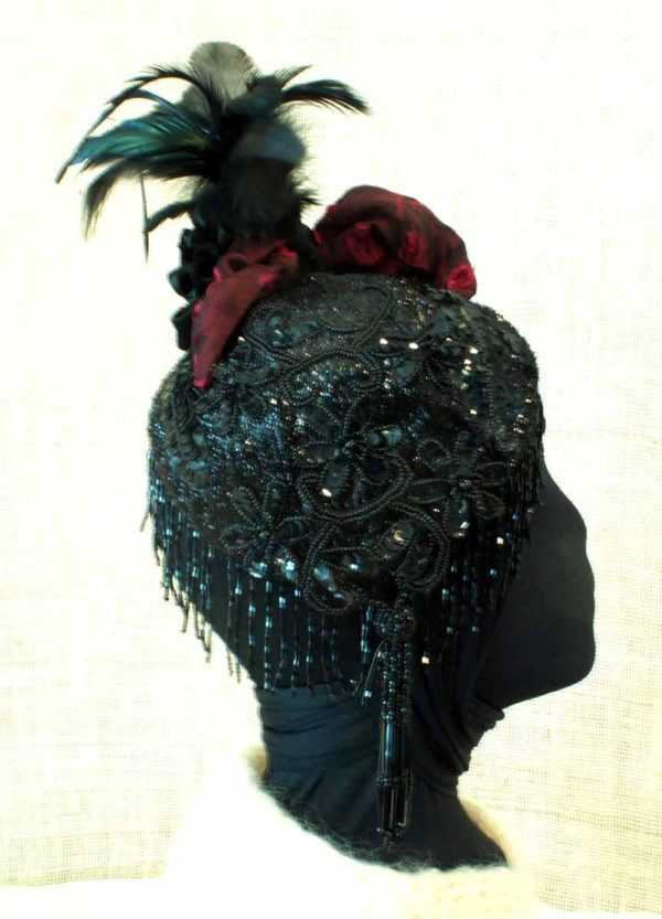 Adjustable Feathers in Up Position and Applique Sequins and Beads