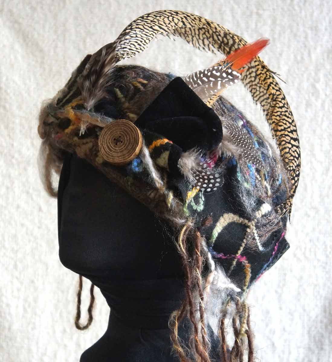 Uniquely Dynamic Multicolor Hat with Velveteen and Pheasant Feathers