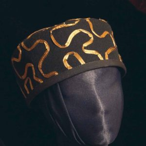 Classic Black Pillbox Comfortable Hat Features Copper Ribbon Adorned Fabric